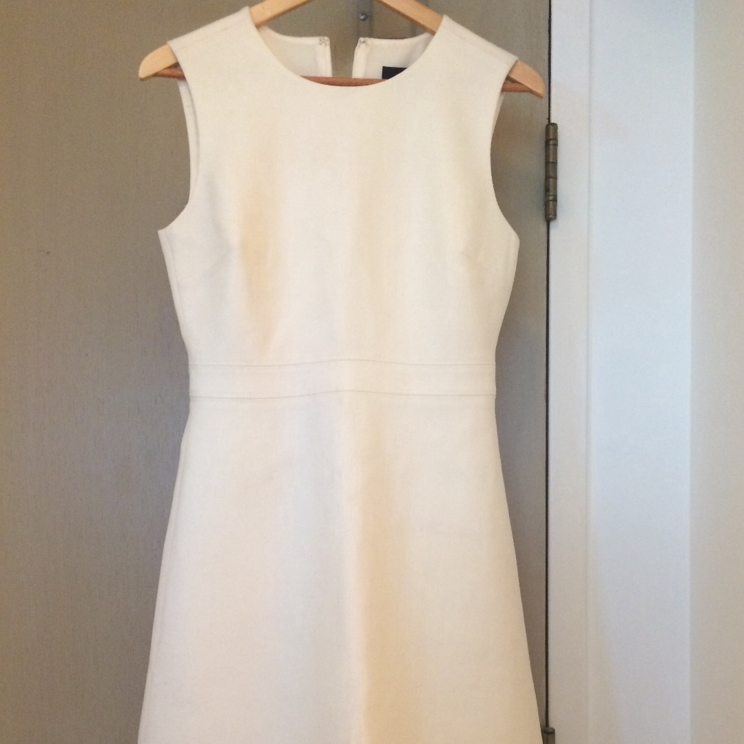 Brand New W/ Tag J Crew Ivory A-line Dress in Double-Serge Wool