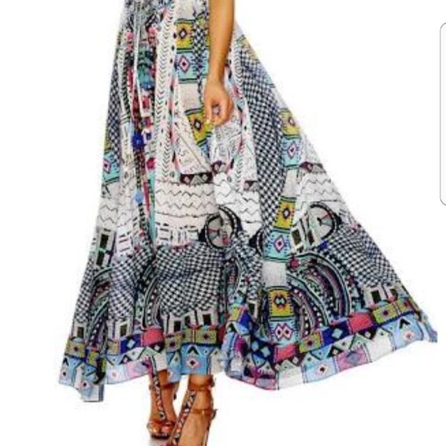 Camilla Maasai Mosh Long VNeck Drawstring Dress