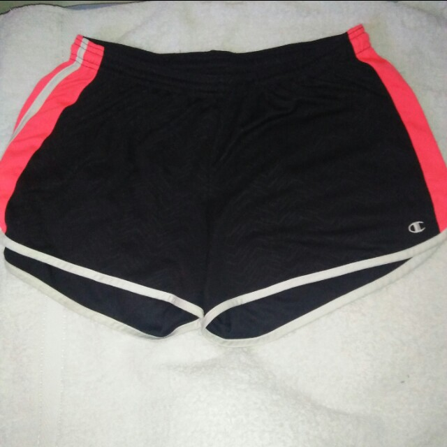 CHAMPION BLACK AND NEON PINK SHORT