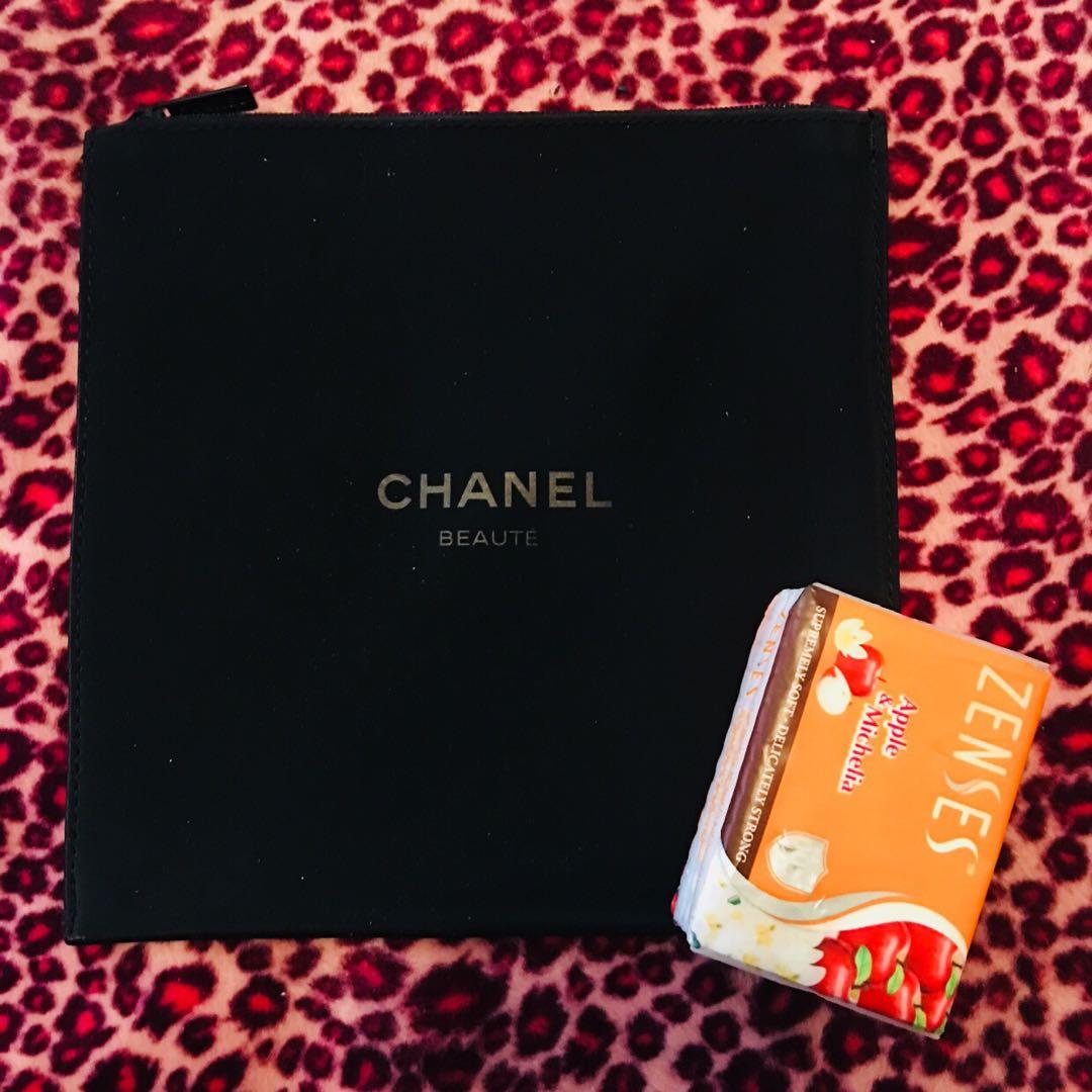 CHANEL Beaute VIP 贈品 方型薄化妝袋 手提袋