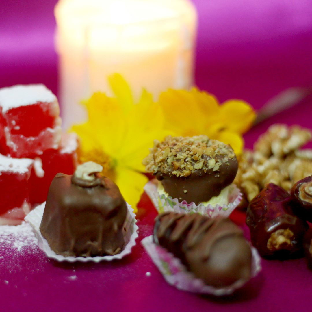 Chocolate Covered Sweets: Turkish Delights, Dates & Marshmallow with Toasted Walnuts
