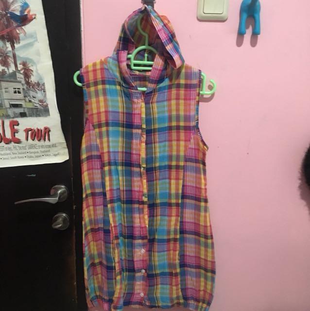 Colorful Plaid Hoodie Dress