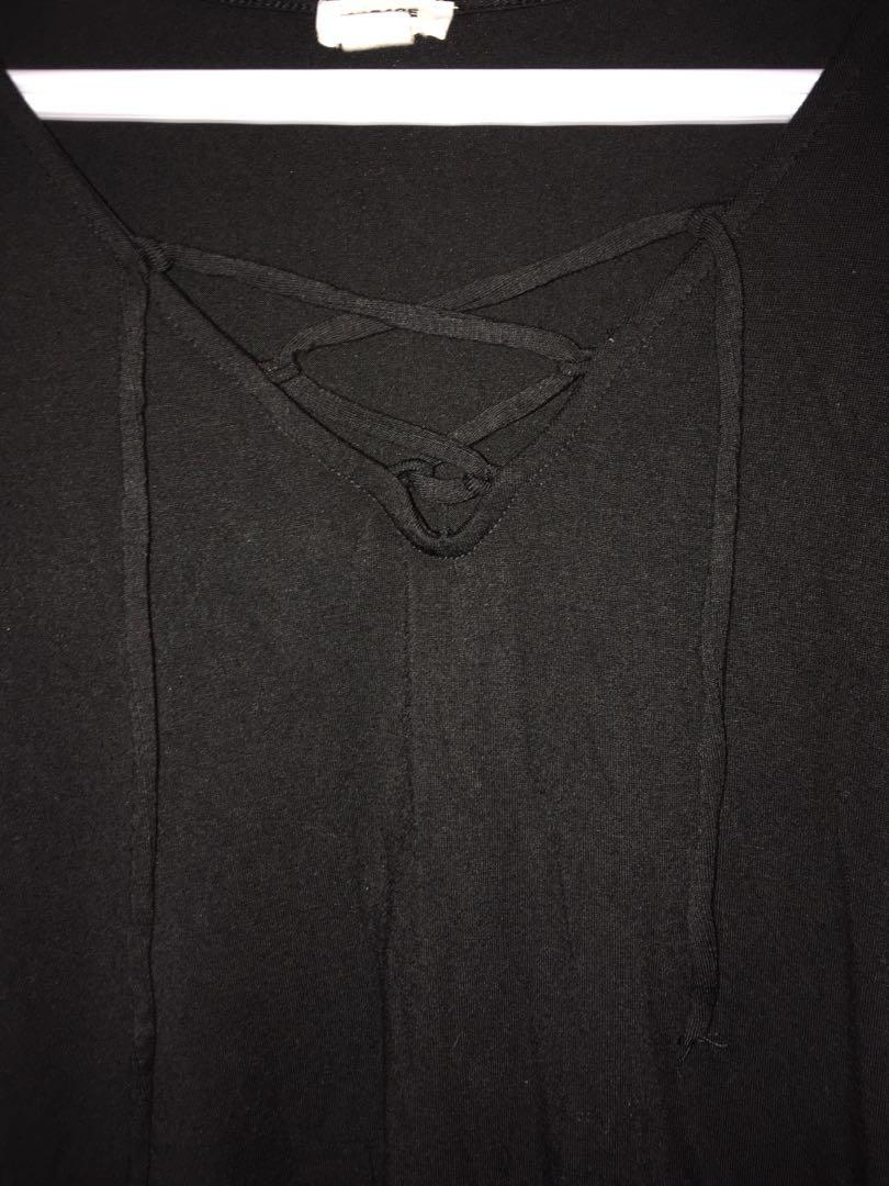 Cross-front long sleeve shirt