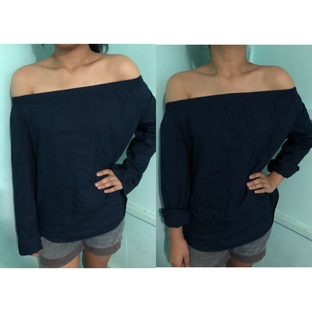 Dark Blue Off Shoulder