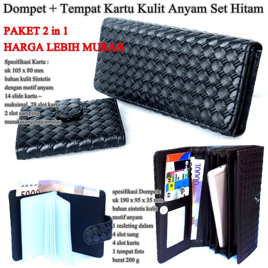 Dompet dan Card holder Kulit Anyam Seri M hitam 3754bf287e
