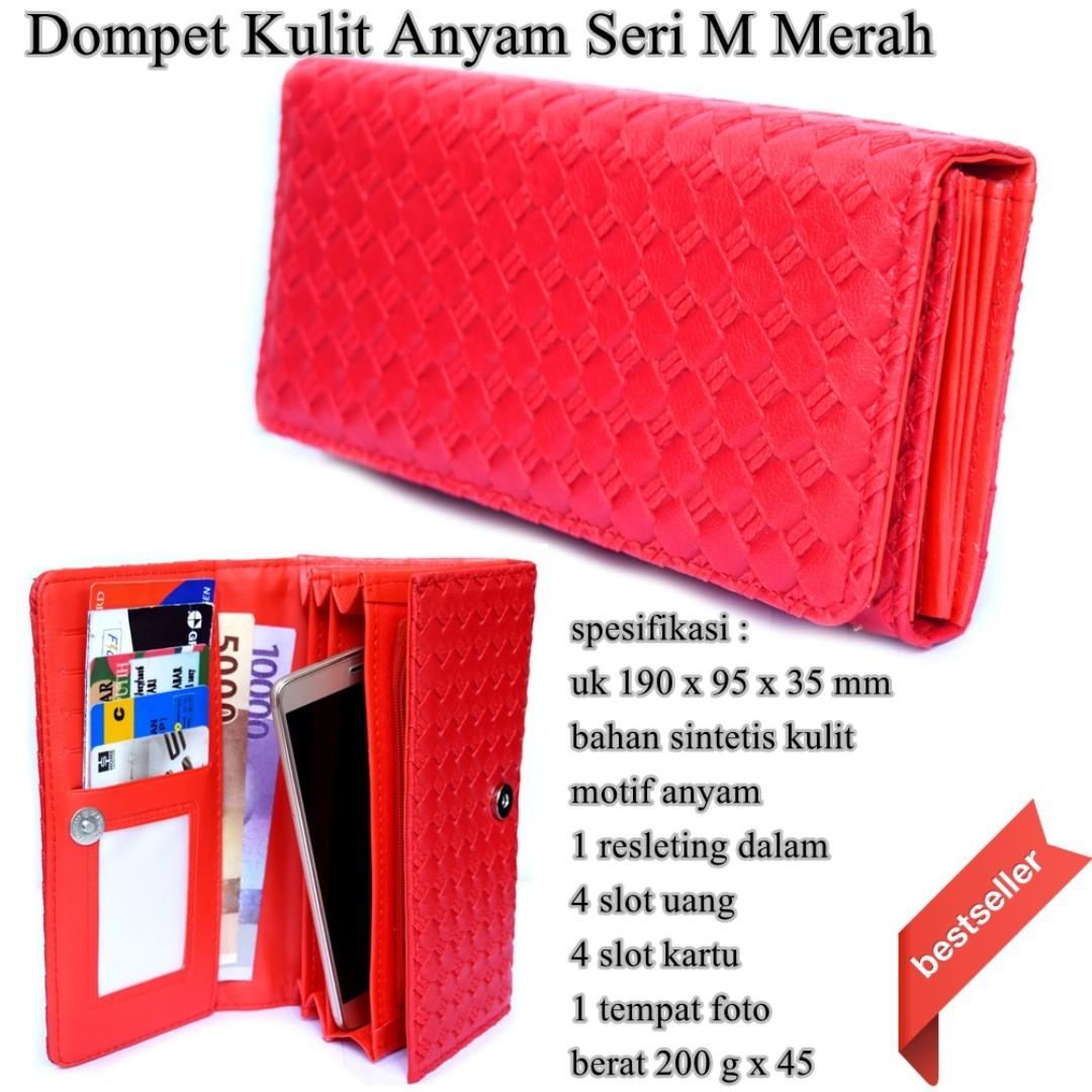 Dompet Kulit Anyam Seri M merah e4371efeda