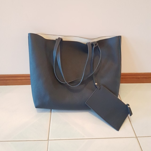 Faux leather navy tote