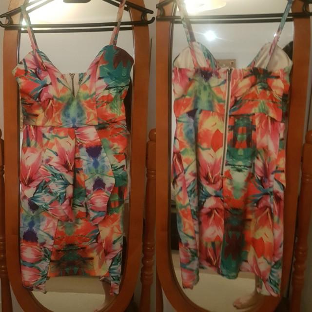 Floral Party Dress w/ removable straps