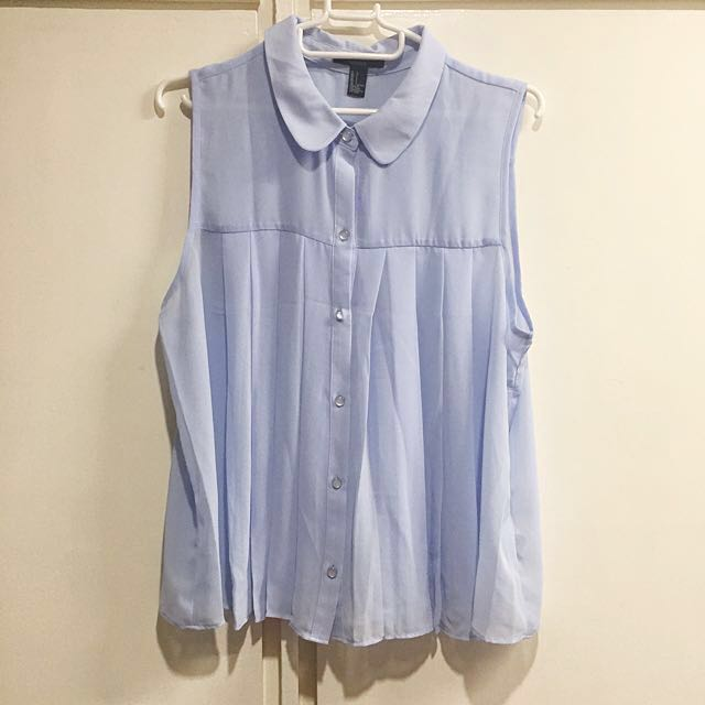 Forever 21 Periwinkle Button Down Sleeveless Blouse