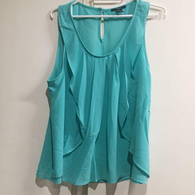 Forever 21 Turquoise/Blue Green Sleeveless Blouse