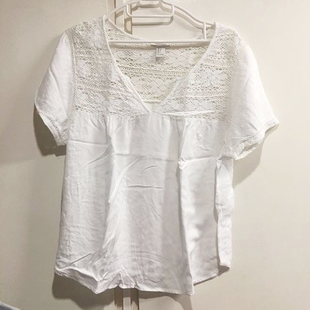 Forever 21 White Laced Top