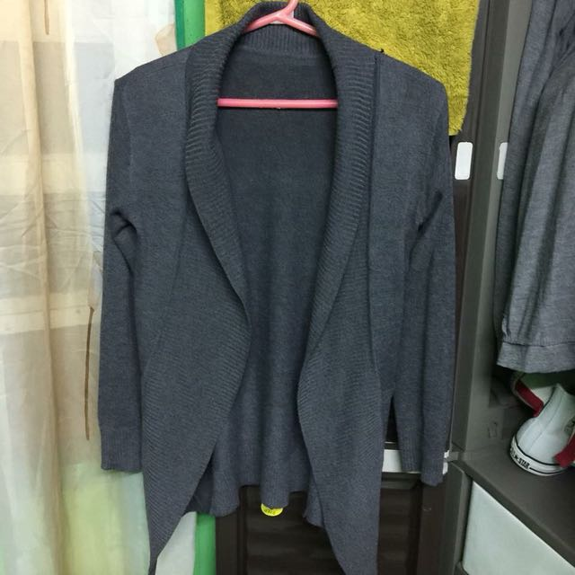 [FREE SHIPPING] Gray Cardigan with pockets