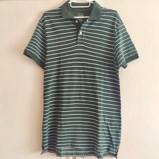 GAP Dark Green Stripes Collared Polo