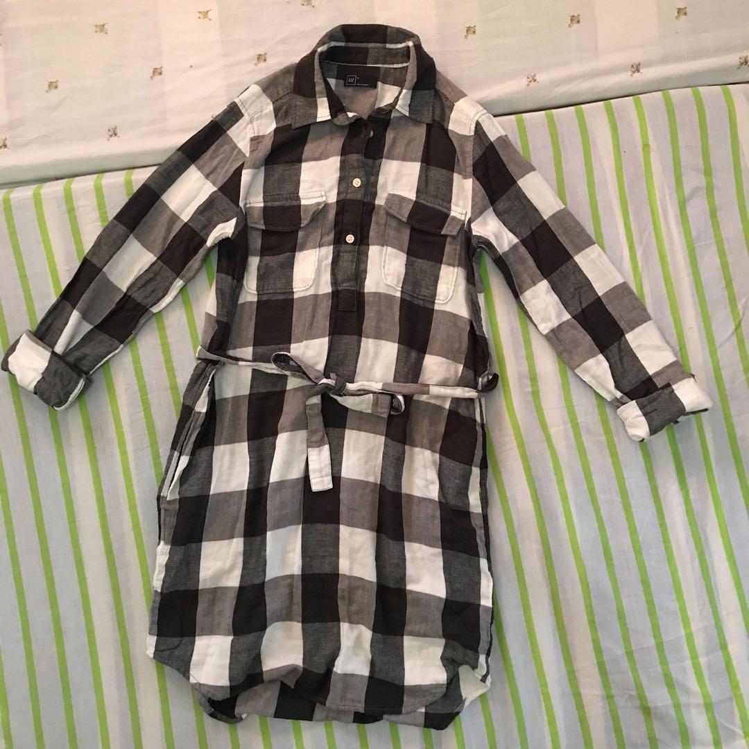 GAP Plaid flannel shirt dress