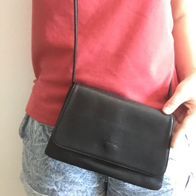 Herbench black leather crossbody bag
