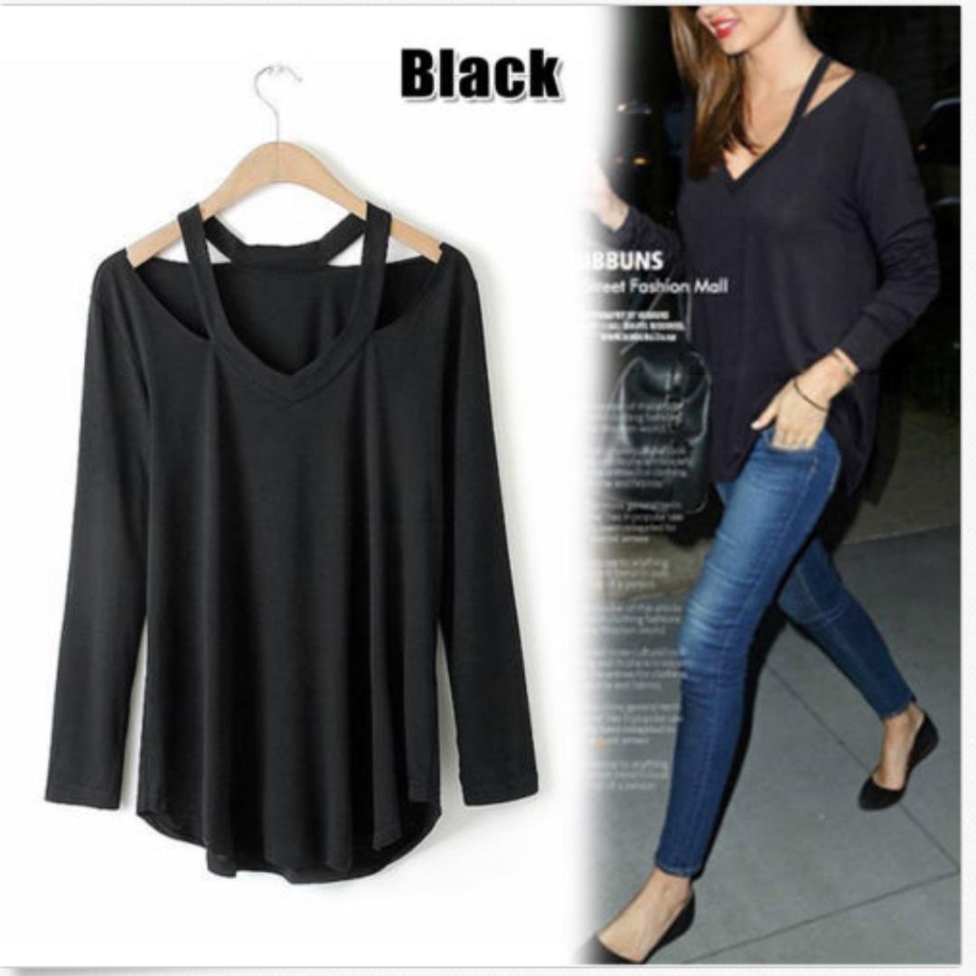 Long Sleeve Shirt Casual V Neck Cotton  Tops Tee Shirt Blouse