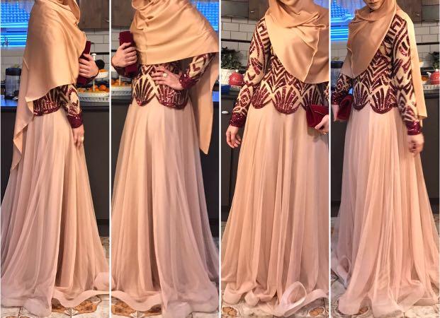 Maroon-nude formal dress