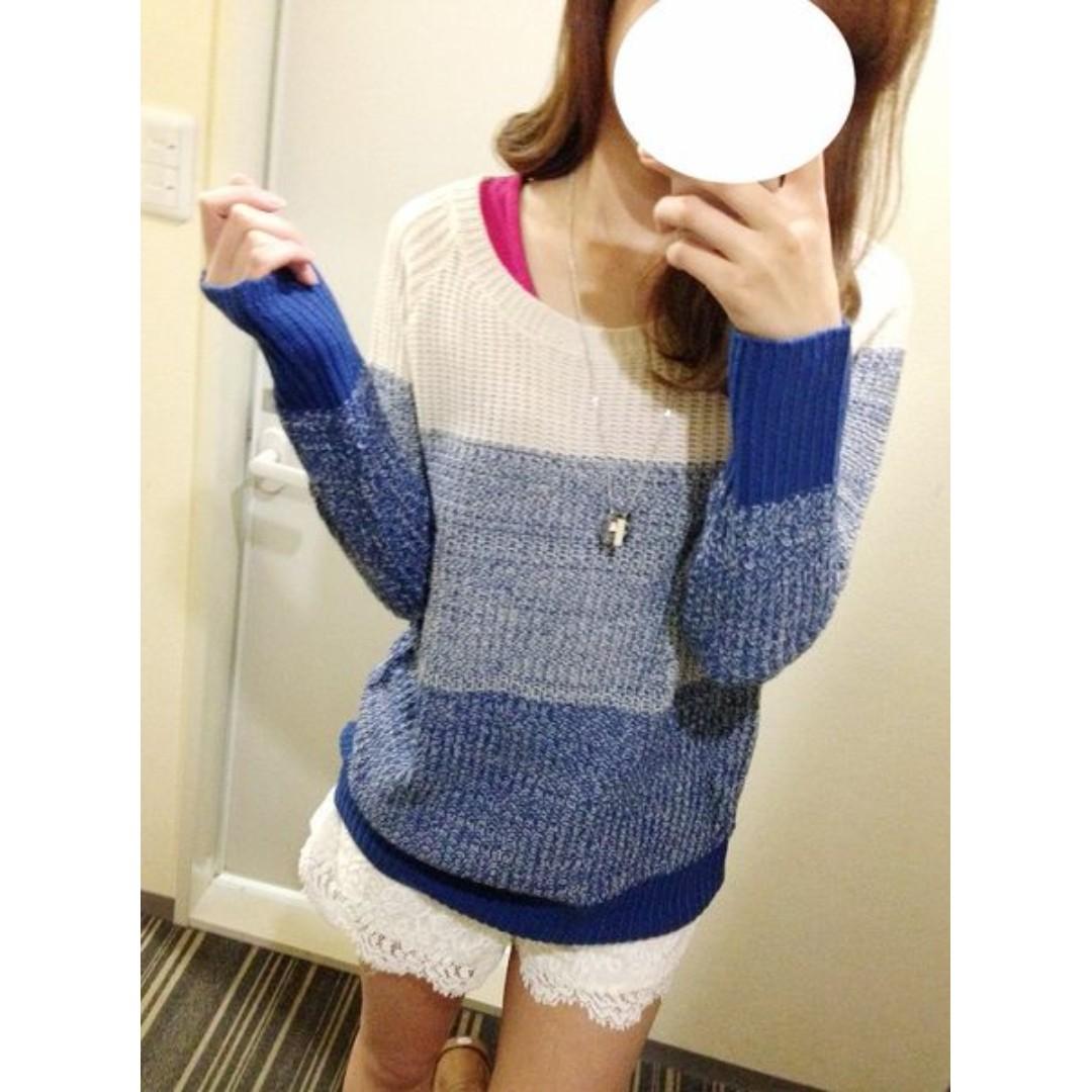 日本購買🌹M.B.C漸層線條針織衣--藍