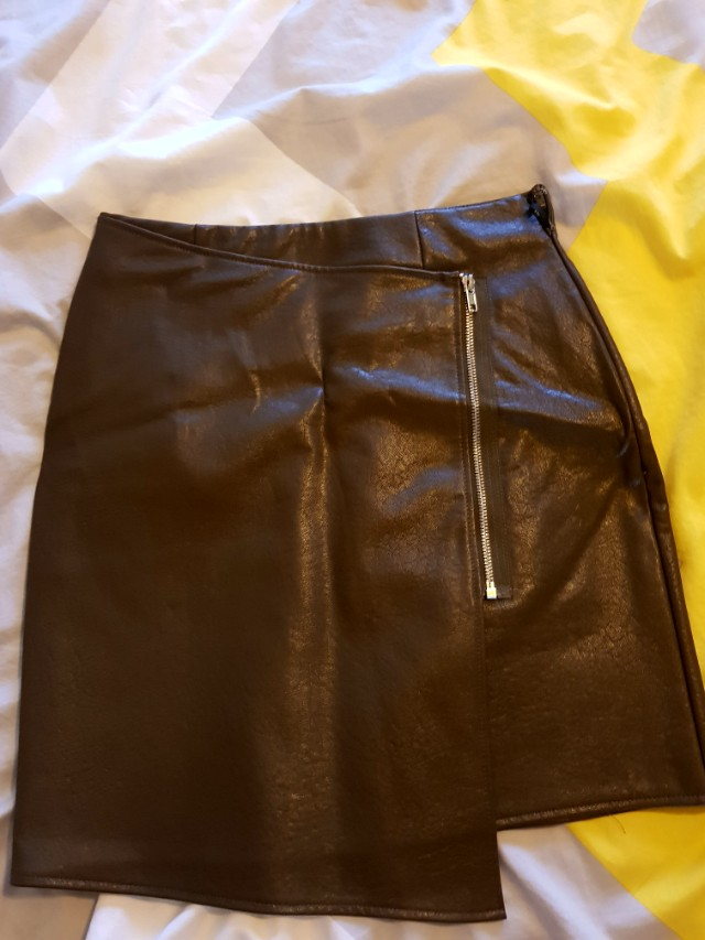 Misguided Brown/green Faux skirt