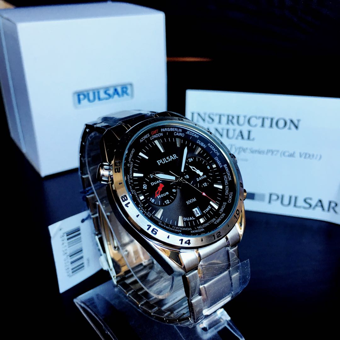 NEGOTIABLE-Brand New Pulsar Dual Time-World Function Watch PY7009