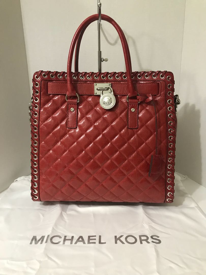 New Michael Kors Hamilton Quilted Large Red Leather Tote