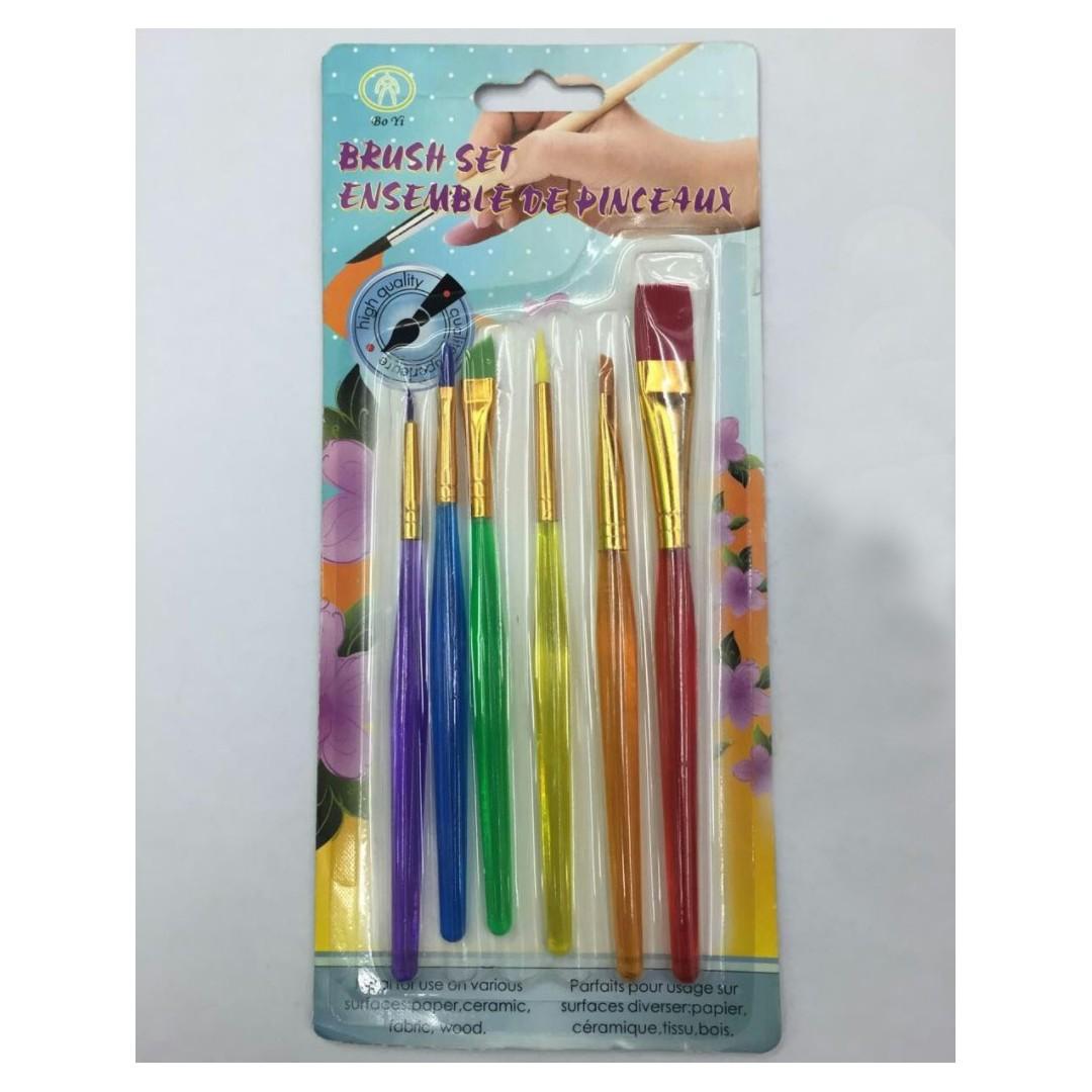 糖霜刷繡or翻糖色粉色素上色必備/彩色塑料桿勾線筆(全套6支)