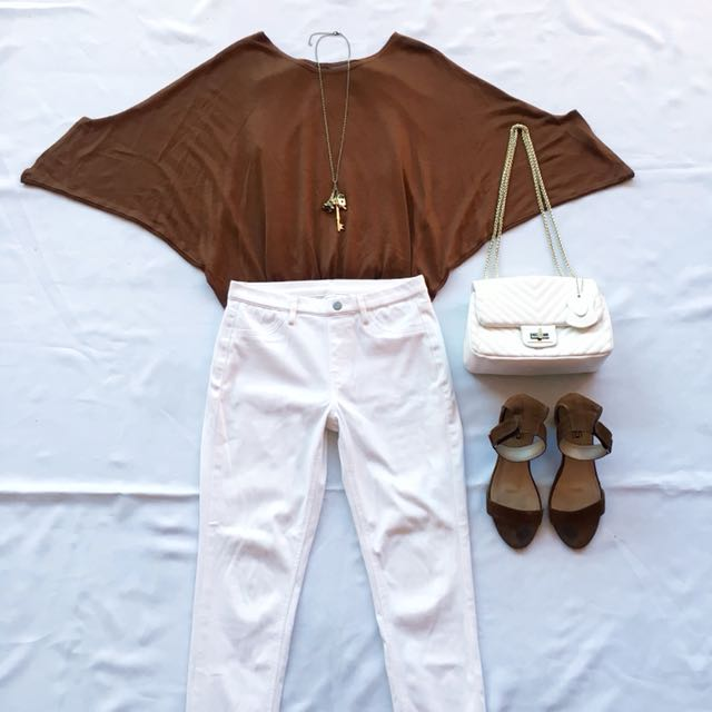 Pair Bat Wing Top & White Pants