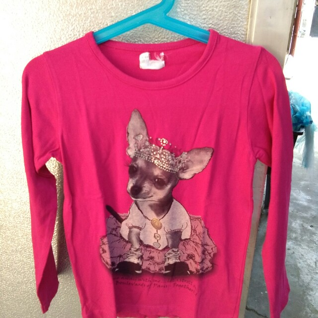 Pink Longsleeve top with Doggje design