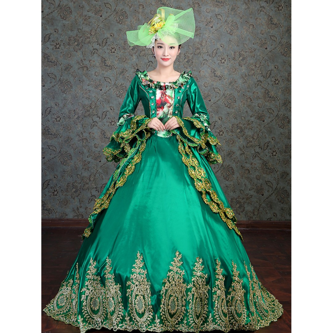 Pre order Medieval Green Long Sleeve Muslimah Victorian Lolita Ball Gown Dress Wedding Bridal RBMWD0131
