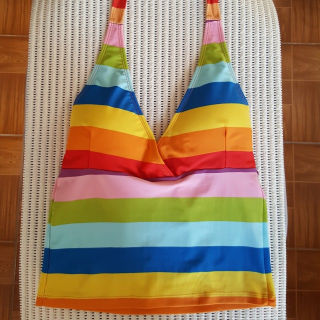 ❤RESORT WEAR Rainbow Stripes Tankini (Rainbow tankini/Multicolor Tankini/Swimsuit Top)