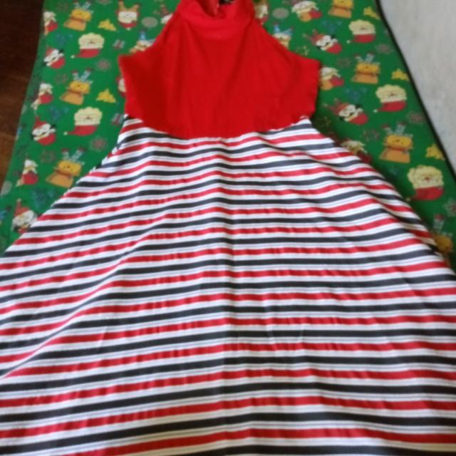 Red close neck dress
