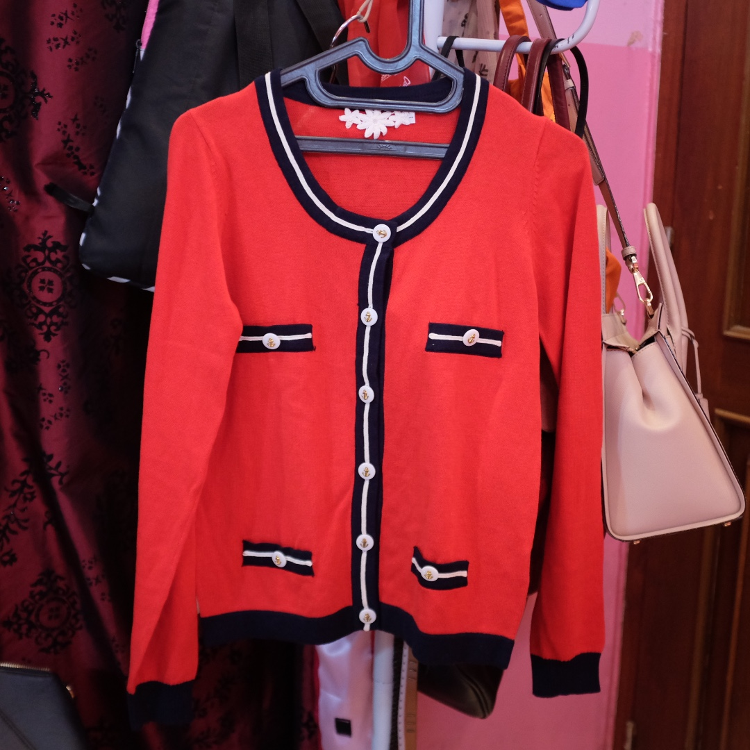 Red navy sweater