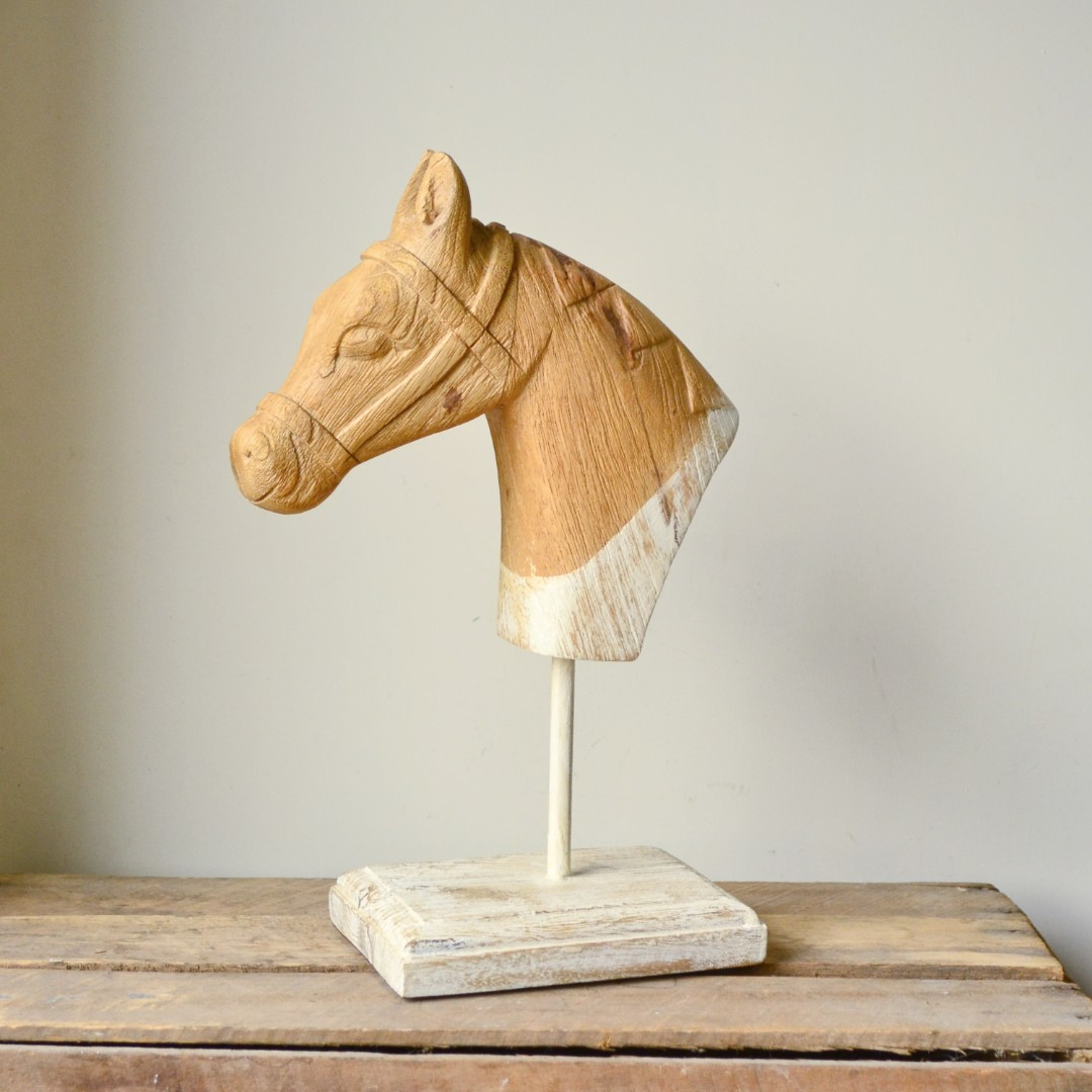 Rustic White & Natural Timber Horse Bust Statue on Stand