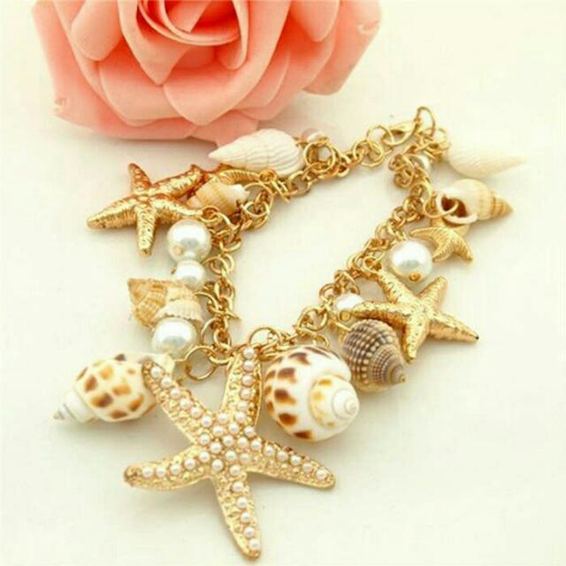 Starfish Shells Charm Bracelet