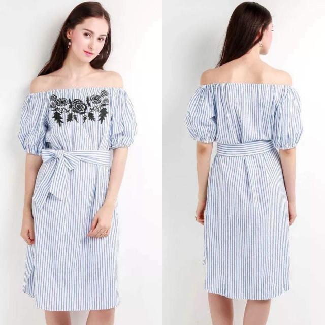 Stripes Embroided Dress