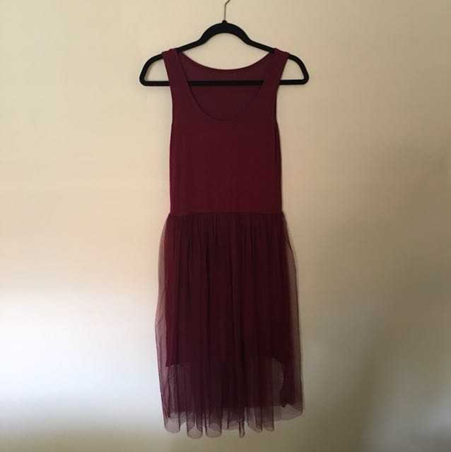 Tank dress brand new free size (wine red color)