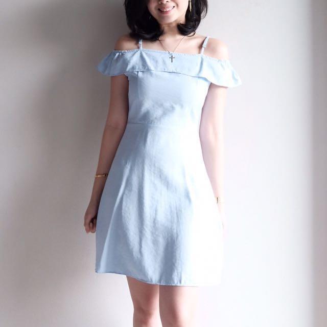 The Editor's Market - Blue Off Shoulder Dress