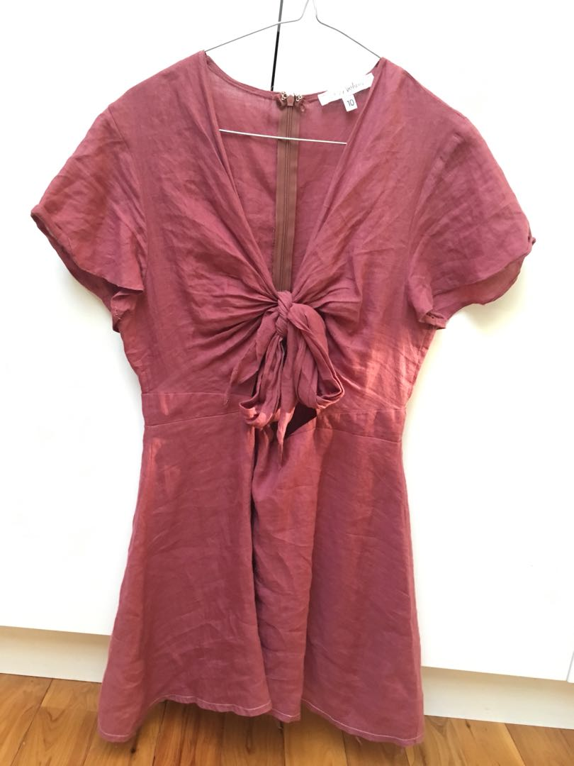 Tie up burnt red dress