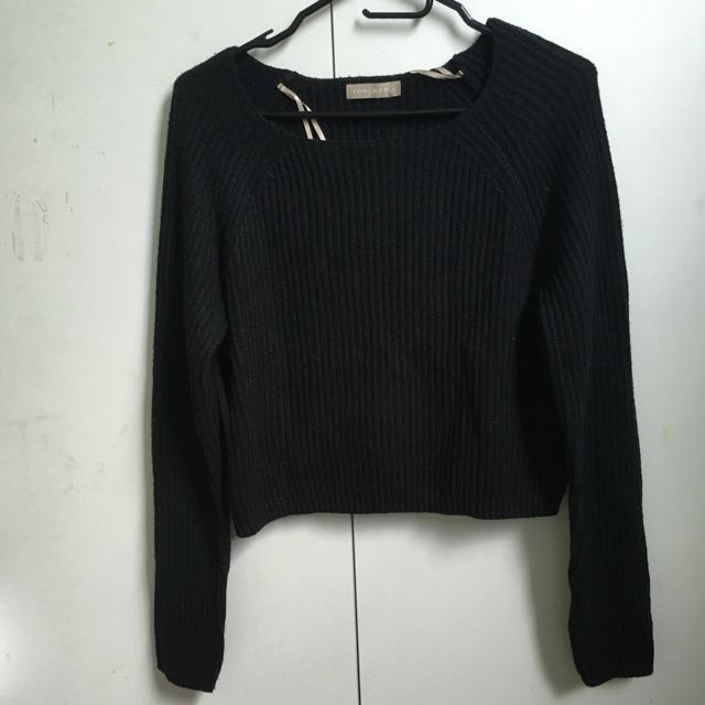 ~USED ONCE~ Forcast Cropped Black Knit Jumper [#48]