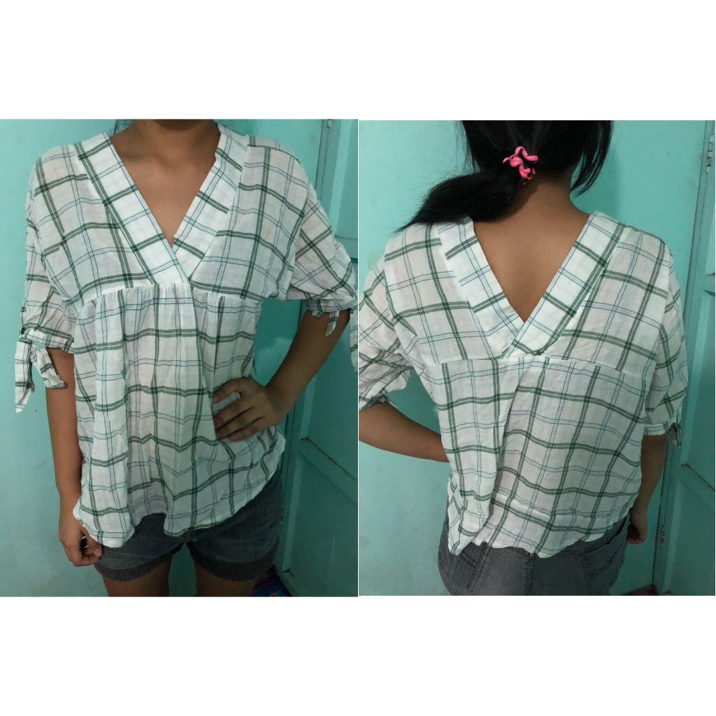 White & Green Blouse
