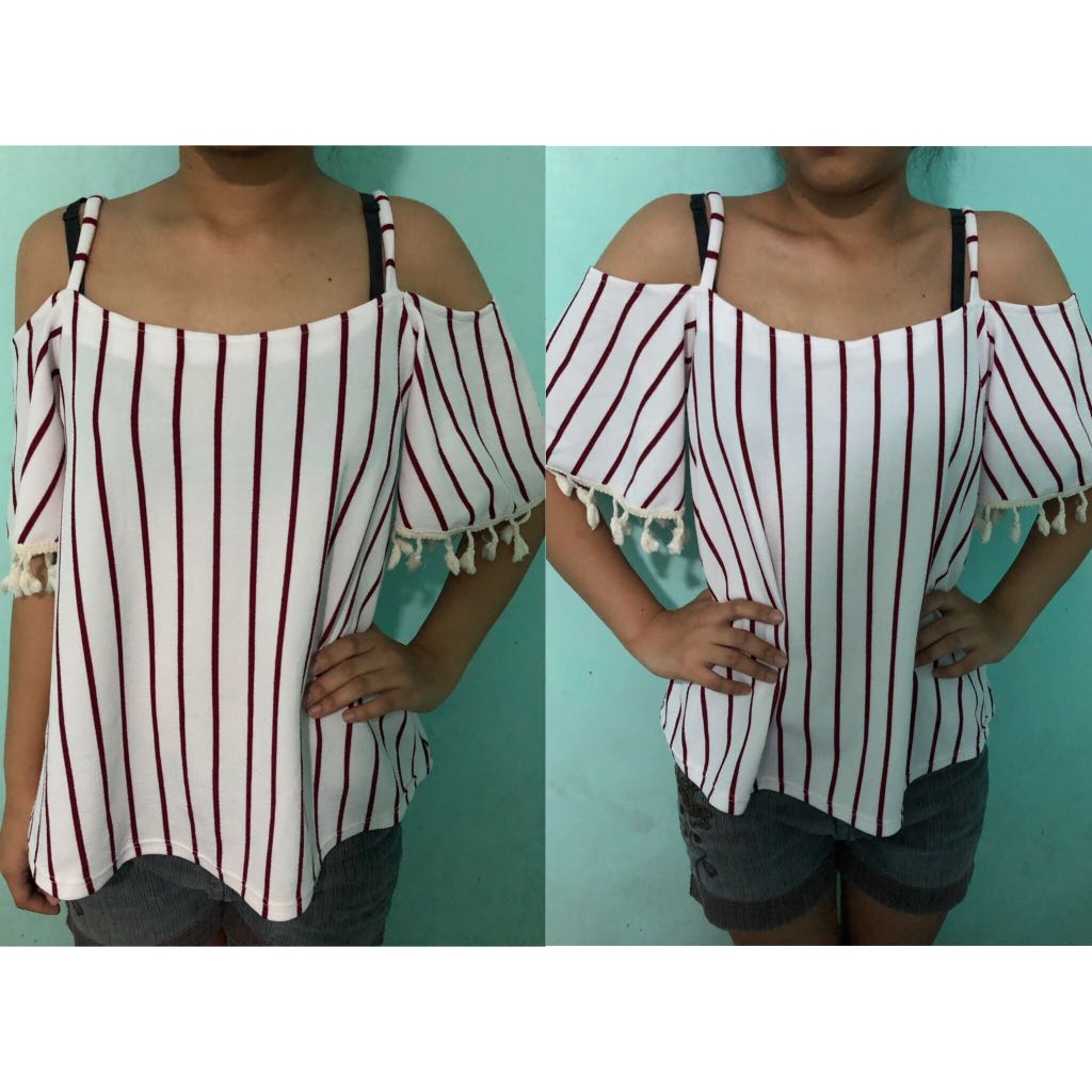 White & Red Off Shoulder Blouse