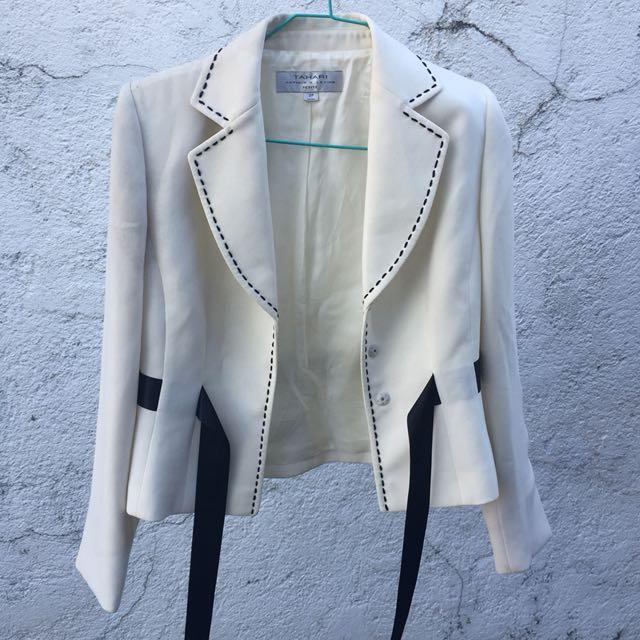 White Blazer with Ribbon Details