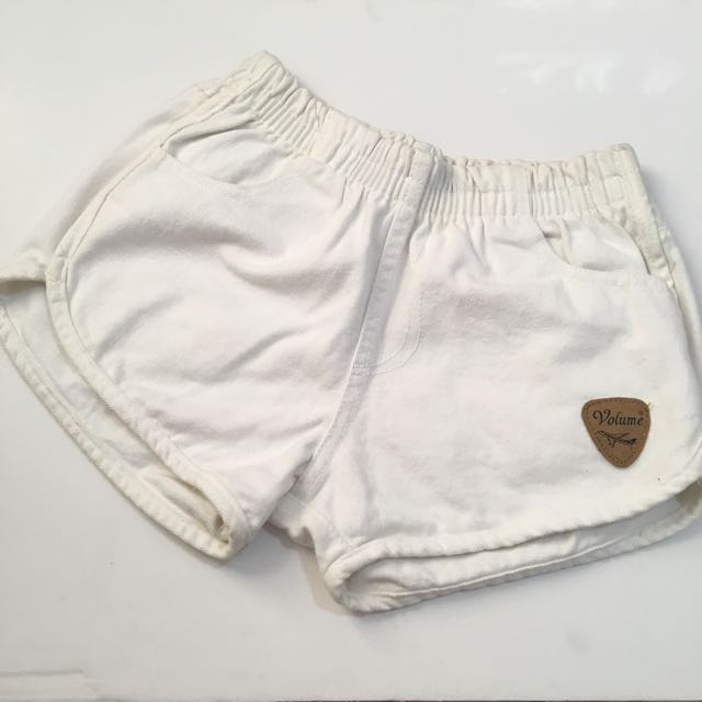White gather shorts
