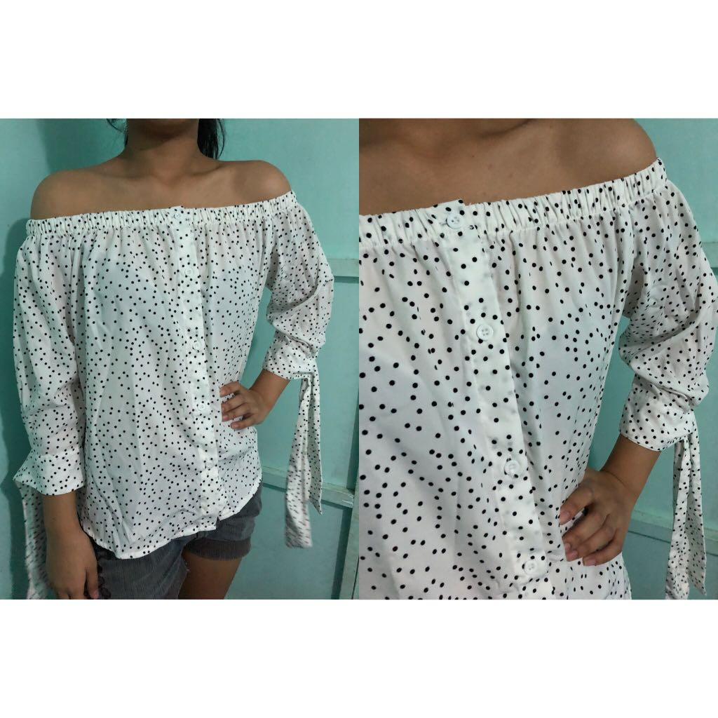 White Polka Off Shoulder