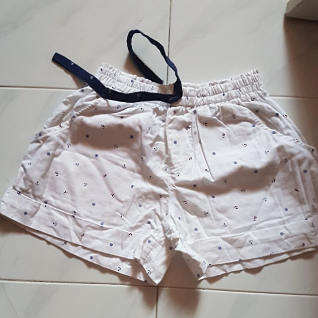 white sailor print shorts
