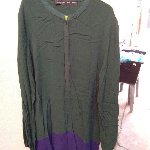 Zara Green and Violet long sleeves dress