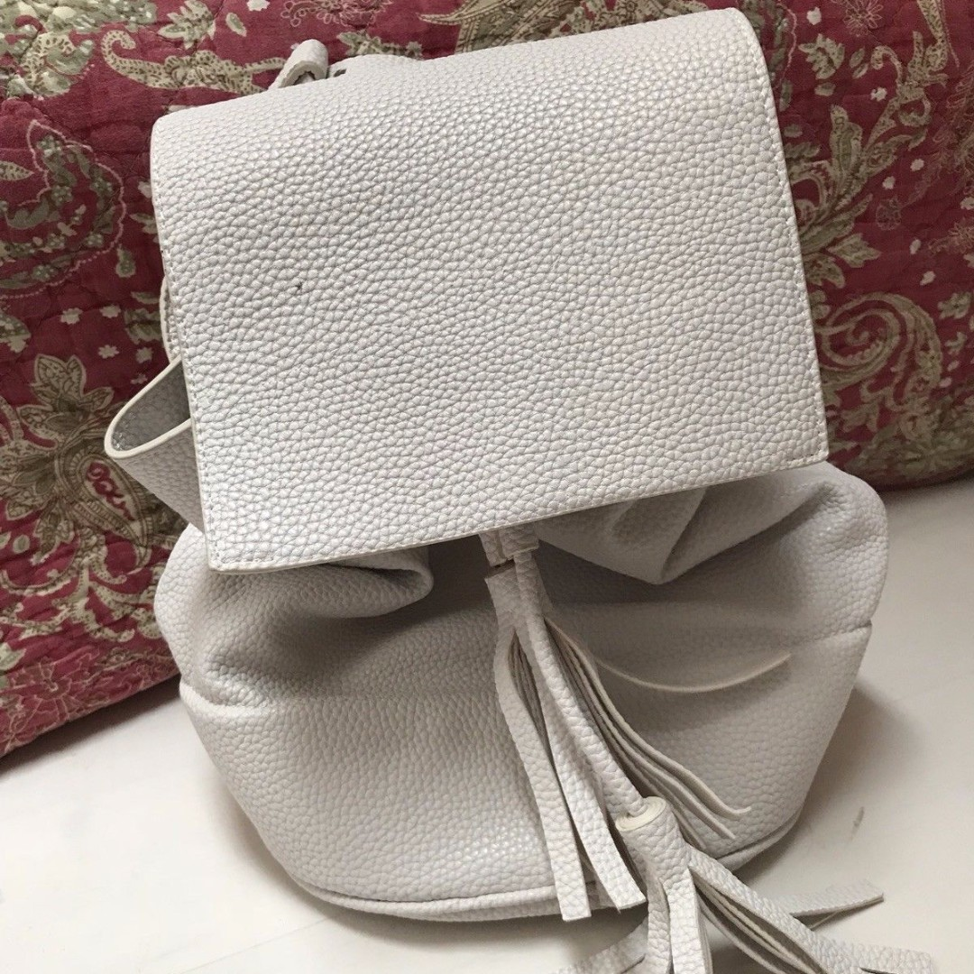 Zara White Pebbled Backpack