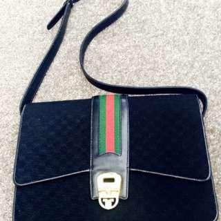 激罕中古真法國版GUCCI雙G黑布及皮手袋(購自法國原價$4380)Vintage中古迷之選