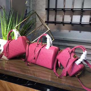 LV Speedy Bandolier Empriente Leather