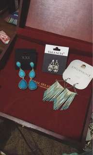 get this 3 earrings (forever 21,promod,valencia) only 100k